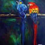 obraz olejne papugi, parrots, oil painting of parrots