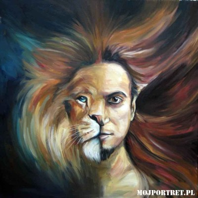 portret olejny abtrakcyjny