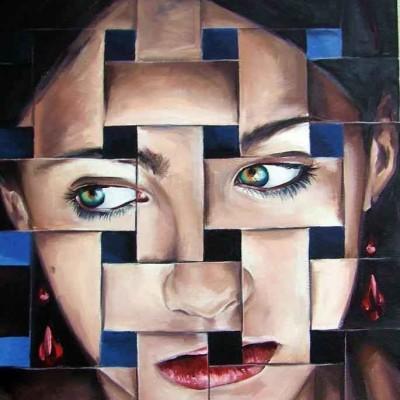 portret olejny premium - efekt pikselowania