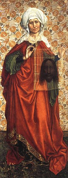 Portret św. Weroniki - Robert Campin (1378-1444) jest uważany za  jednego z pionierów malarstwa olejnego w Europie