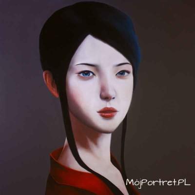 portret ze zdjecia ręcznie malowany