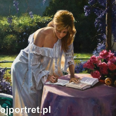 Portret kobiety w ogrodzie - obraz olejny premium