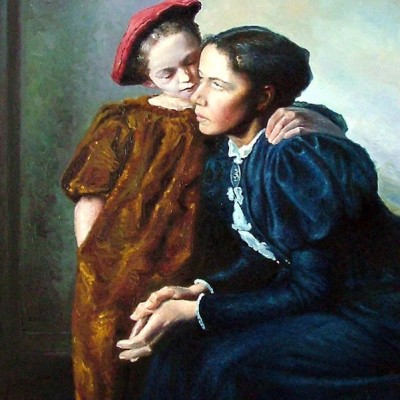 Portret matki z córką - olejny