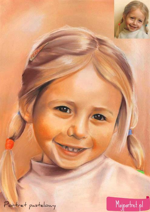 portret pastelowy wnuczki - prezent dla wnuczki