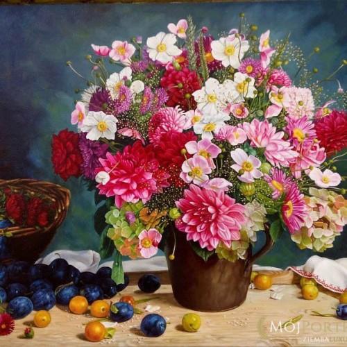 kwiaty-dzban-sliwki-obraz