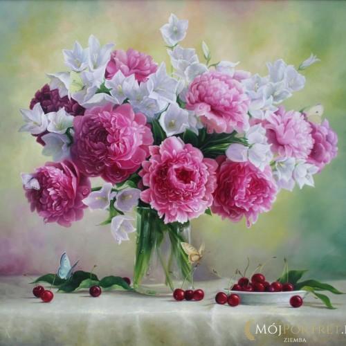 kwiaty-dzwonki-biale-rozowe-malarstwo