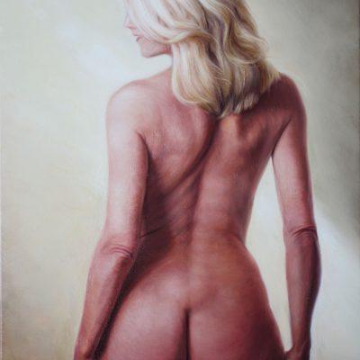 naga kobieta stojąca tyłem malarstwo